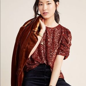 NWT Anthropologie Marie Sequined Blouse